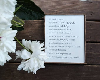 Farmhouse inspired summer quote by LM Montgomery framed wood sign