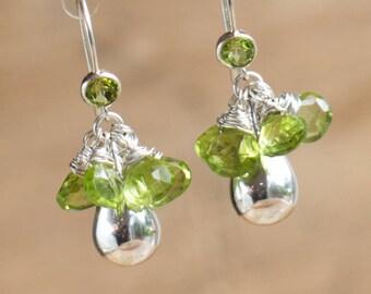 Peridot Drop Earrings, August Birthstone, Green Gemstone Cluster Earrings, Silver Drop Earrings, Dainty Statement Earrings, Peridot jewelry