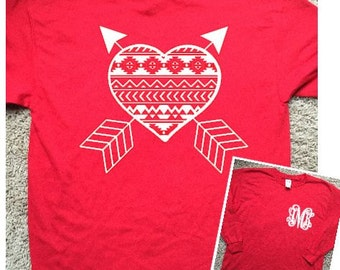 Aztec Heart and Arrows with Pocket Area Monogram--Long Sleeve Tshirt for Valentine's Day--Youth and Adult