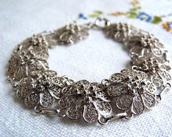 835 STERLING SILVER bracelet - Filigree / Cannetille