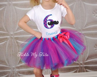Mustache Birthday Outfit-Girly Mustache Bash Birthday Tutu Outfit-Pink Mustache Tutu Set-Girl's Mustache Party Outfit *Bow NOT Included*