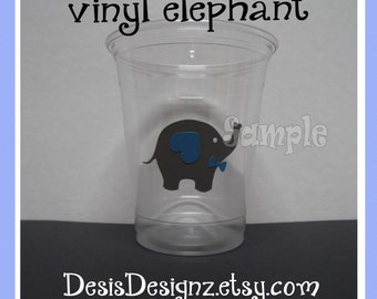 24 Baby shower Elephants vinyl decals Boy baby shower decorations sprinkle party vinyl cup stickers Pary cup stickers vynil decals baby boy