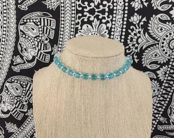 Sky Blue Geometric Choker Necklace