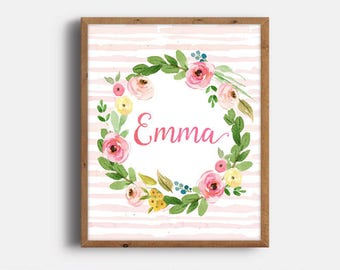 Baby Girl Name Print, Emma, Floral Nursery Decor, Personalized Baby Gift, Pink Nursery Printables, Digital Print, Instant Download