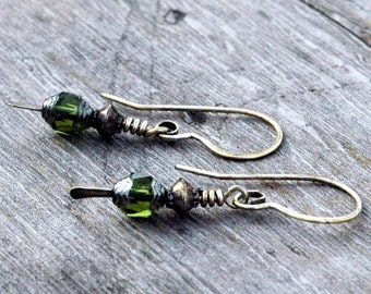 Hammered Metal and Czech Glass Bead Earrings, Apple Green with Darkened Silver Accents, Casual, Delicate Pierced Earrings, Earrings Under 20