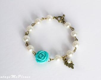 Mint Flower Bracelet, Flower Girl Bracelet, Bridesmaid Bracelet, Flower Girl Gifts, Flower Bracelet, Infant Jewelry, Childrens Gifts, Gifts