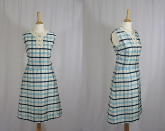 1960s Blue and Cream Check Sheath Dress * Size Medium