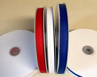 Grosgrain Ribbon Red White Blue 50 yard spools 3/8 inch - One of each color