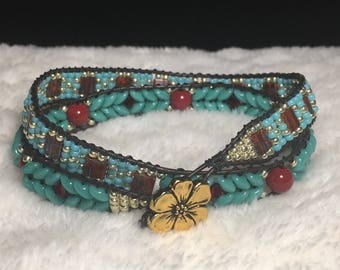 Red & Turquoise double wrap bracelet