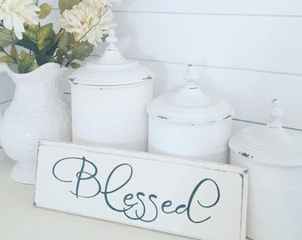 Blessed wood sign