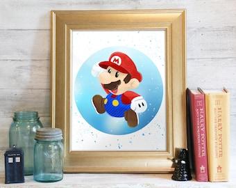 Mario Bros Print, Super Mario, Marios Bros Printable, Nintendo Art, Super Mario Bros, Printable Decor, Video Game Art: It's Me! Mario!