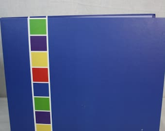 Blue with Primary Color Stripe Down Left 12x12 Scrapbook