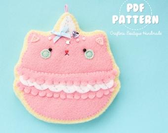 Kitty Cat Macaroon Sugar Cookie Charm PDF Pattern. Digital Pattern Tutorial. Soft Toy Pattern.