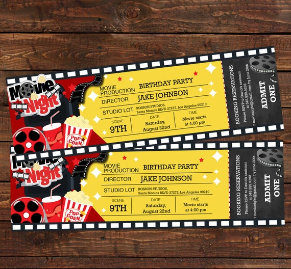 Perfect Movie ticket birthday invitation Movie party invitation KK89