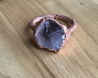 Amethyst Electroformed Copper Ring (size 7.5)