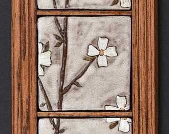 Framed Dogwood Flower Tiles