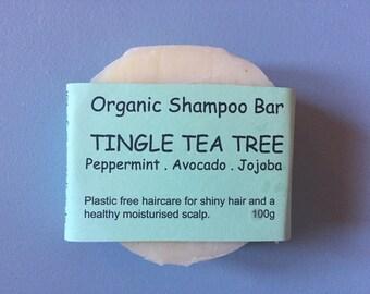TINGLE TEA TREE - Shampoo Bar, Natural Shampoo, Anti Dandruff Shampoo Bar, Healthy Scalp Shampoo, Tea Tree, Peppermint, Jojoba Shampoo Bar