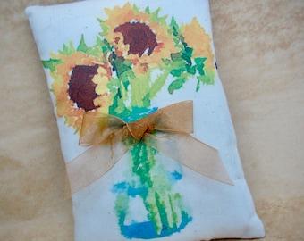 Sunflower mini pillow | Yellow Sunflower decor | Watercolor Sunflower | farmhouse decor | Floral watercolor print | Sunflower decoration