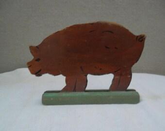 Folk Art Wooden Pig