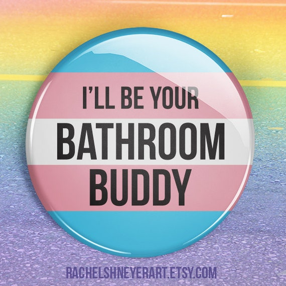 Trans Ally Bathroom Buddy 2 Button Set Trans Ally Pinback