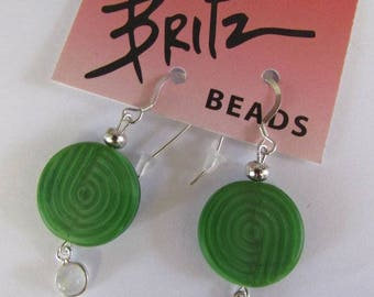 Earrings For Her, Sterling Silver Moon Stone Drop, Green Glass Disk, Almost 2 Inch Long, Sterling Ear Wires, Britz Beads Supply