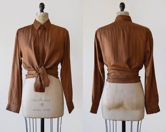 Malfa Blouse / 1990s italian silk button up / vintage mocha silk shirt