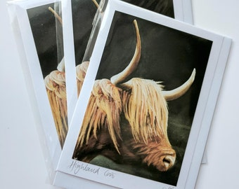 Highland Cow | greetings card | hand made | handmade | furry cow | scottish cow | furry cow | cow with horns | animal card | wildlife card