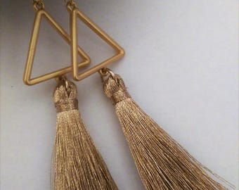Gold tassel dangle earrings