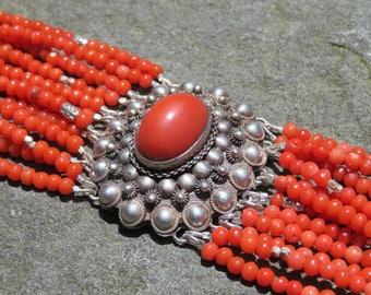 Coral Multi Strand Bracelet,Repurposed Vintage Peruzzi Style Brooch,Coral Bracelet,Multistrand Gemstone Bracelet,Vintage Coral Gemstone Cuff