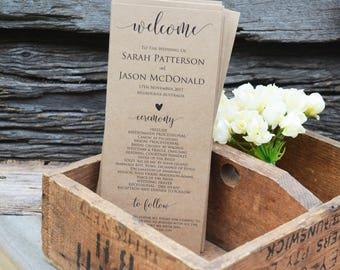 Wedding Program Printable, Rustic Wedding Program Template, Order of Events Program,  Instant Download, WLP269