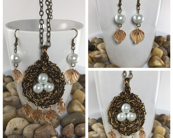 Bird nest necklace Bird nest pendant Necklace and earrings Wire wrapped birds nest Nature jewelry Jewelry set Gift for her Gift for mother