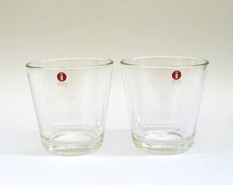 iconic mid century design  ...   vintage iittala finland   ... modern clear glass  ...   kaj franck  ...   2 glasses   ...   set