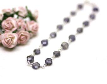 Denim Blue Iolite Gemstone Bracelet Wire Wrapped on Sterling Silver   Natural Semiprecious Stone   Gift for Woman   Artisan Jewelry by Azki