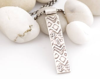 Prayer Flag Inspired Silver Necklace