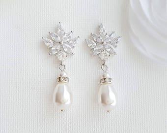 Crystal Bridal Earrings Pearl Drop Wedding Earrings Bridesmaid Earrings, Rose Gold Bridal Earrings Swarovski Pearls Wedding Jewelry, Rosa