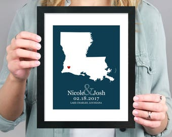 Louisiana State Map, Engagement Gift, Personalized Wedding Gift, Love State Map, Bridal Shower Map Gift, Wedding Decor, First Anniversary