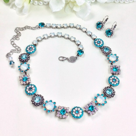 "Swarovski Crystal Necklace ""Flower Garden"" Special One Of A Kind - Feminine Flowers - Blue Zircon & White Opal - On SALE! - FREE SHIPPING"