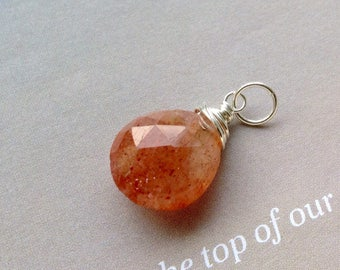 Sunstone Pendant, Sunstone  Necklace, 15mm Sunstone Pendant, natural gemstone, sterling silver, 14k gold filled, sunstone briolette