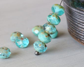 9x6mm (10) Turquoise Aqua, Picasso, Czech, Glass, Faceted, Rondelle, Beads, 10 pieces