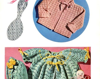 BABY CROCHET PATTERN - Chevron Saque and Bonnet Vintage pattern - emailed