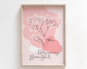 Blooming Beautiful, printable floral with Baby Breath, A4 and 8x10 inches for wall art, cards and nursery decor