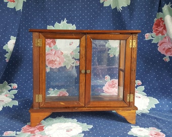 Tabletop Wood and Glass Display Case with Doors and Shelf