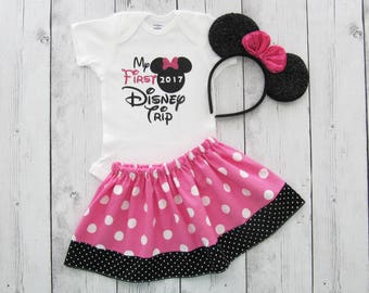My First Disney Trip - Minnie Mouse in pink polka dots - onesie and skirt, girl dress, minnie mouse dress, minnie ears