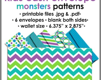 Printable KIDS Cash Envelope WALLET Size MONSTERS, Money Budget Envelopes, Cash Organizer - Set of 6, PB1530