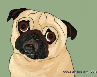 Fawn Pug Note Cards -  Patient Pug - Standing By
