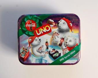 Vintage Uno Game, Coca Cola Polar Bears, Special Edition Uno, Christmas, Card Games, Coca Cola Tin
