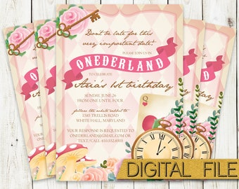 PRINTABLE Onederland First Birthday Party Invitation - Alice in Wonderland Invite - Down the Rabbit Hole