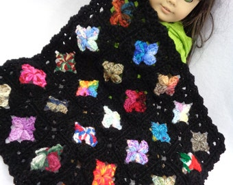 Scrap Colorful and Black Doll Blanket, Crochet 18 Inch Doll Afghan,  Dollhouse Quilt, Crocheted Old Time Granny Square Blanket, Easter Gift