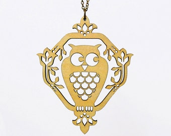 Whimsical Owl Necklace - Laser Cut Wood (C.A.B. Fayre Original Design)