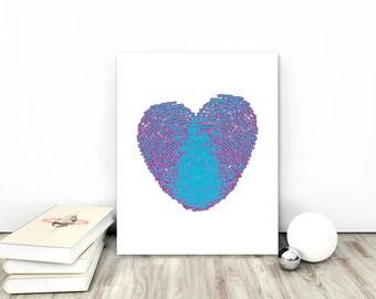 Turquoise Heart, Heart PRINT, Love print, Blue love art, Blue Heart print, Blue Heart graphic, Large heart print, heart wall art, heart art